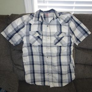 Boy's Blue & White Plaid Pearl Snap Shirt